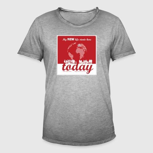 Mens Tshirt. - My NEW life starts today - Herre vintage T-shirt