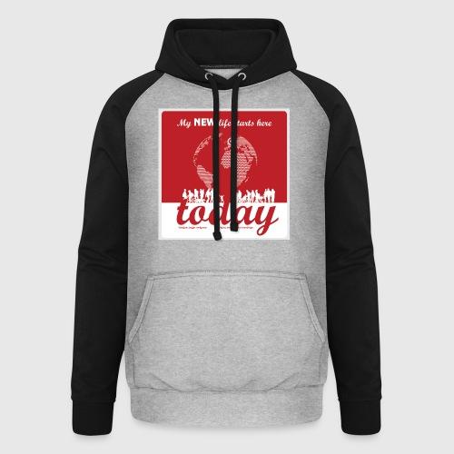 Mens Tshirt. - My NEW life starts today - Unisex baseball hoodie