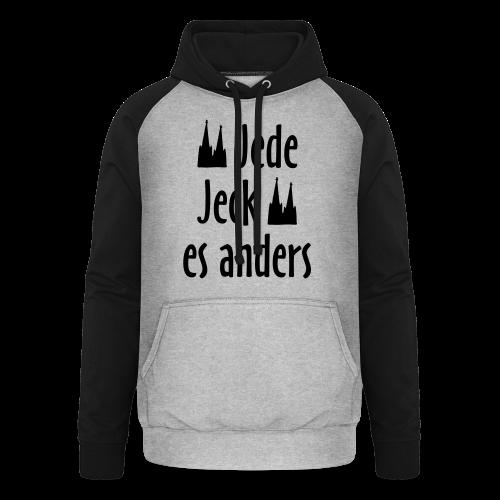 Jede Jeck es anders (Weiß) Kölner Spruch - Kölsche Sprüche mit Dom - Unisex Baseball Hoodie