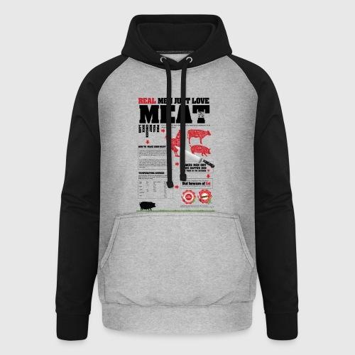 Real men just love meat - Unisex baseball hoodie