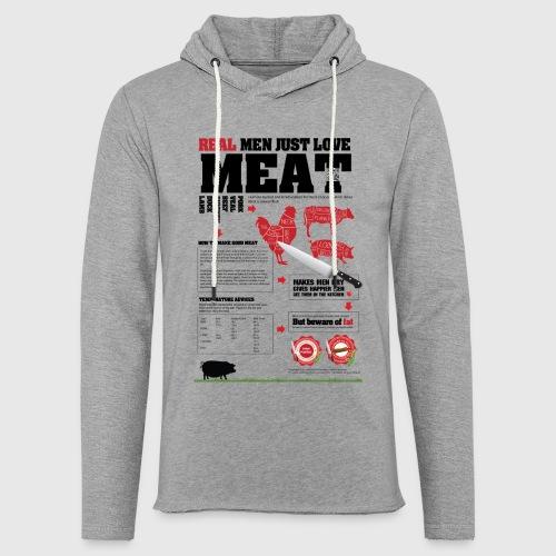 Real men just love meat - Let sweatshirt med hætte, unisex