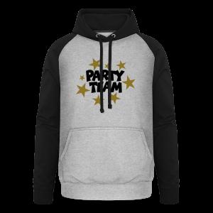 Party Team T-Shirt Schwarz/Gold (Damen) - Unisex Baseball Hoodie