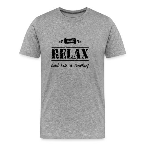Spruch kiss a cowboy - Männer Premium T-Shirt
