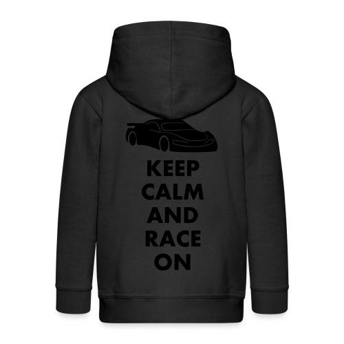 Keep Calm and Race on - Kinder Premium Kapuzenjacke