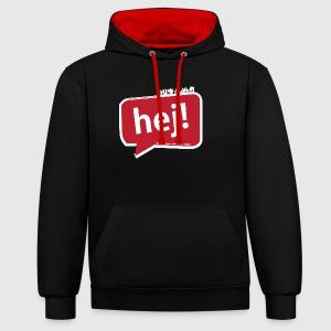 Mens - tshirt - Hello / Hej - Kontrast-hættetrøje
