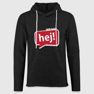 Mens - tshirt - Hello / Hej - Let sweatshirt med hætte, unisex