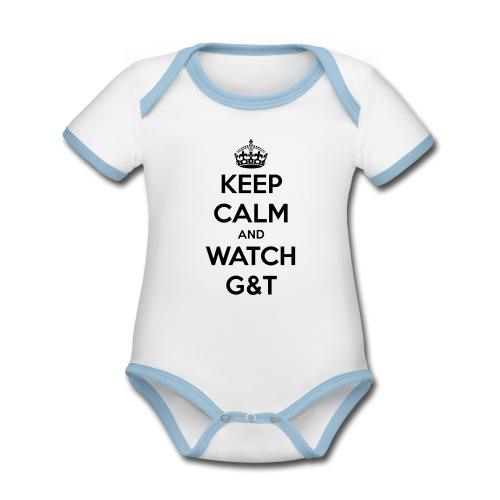 Tazza Keep Calm - Body da neonato a manica corta, ecologico e in contrasto cromatico