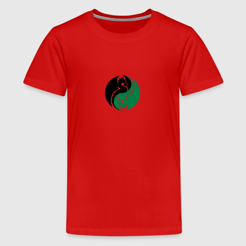 dragons yin yang Shirts - Teenage Premium T-Shirt
