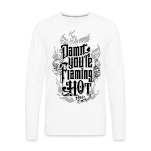 Flaming Hot (BlackNWhite) (unisex) - Herre premium T-shirt med lange ærmer