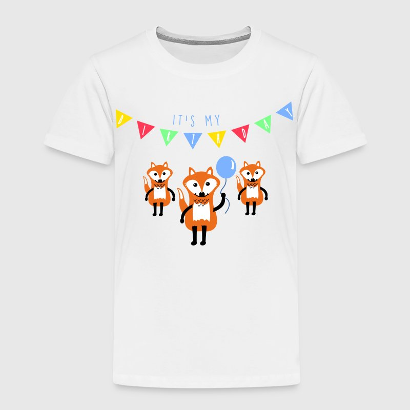 Vit birthday_fox T-shirts - Premium-T-shirt barn