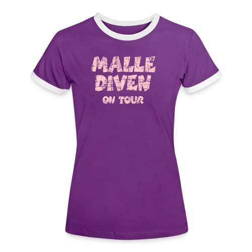 Malle Diven On Tour T-Shirt (Pink) - Frauen Kontrast-T-Shirt