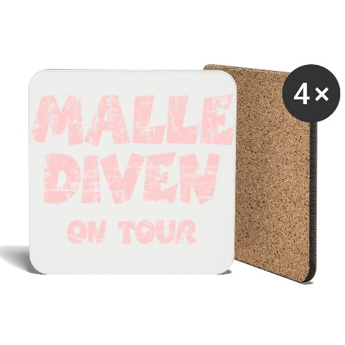 Malle Diven On Tour T-Shirt (Pink) - Untersetzer (4er-Set)