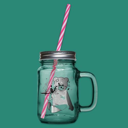Kinder Shirt Teddybär - Henkelglas mit Schraubdeckel