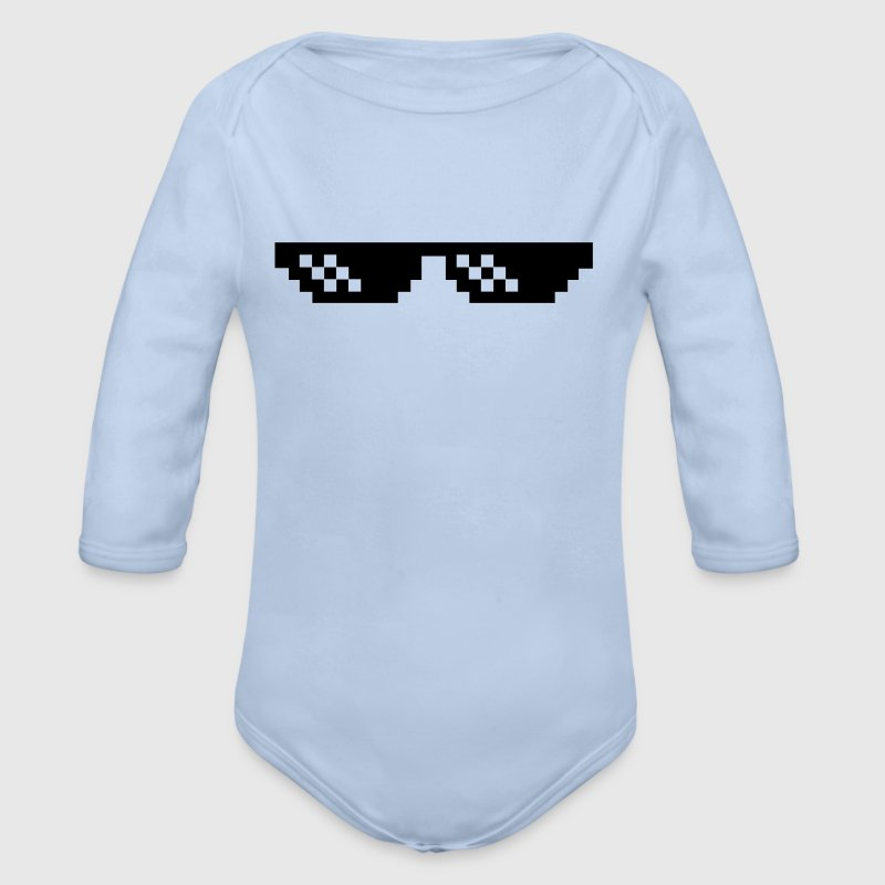 Pixelbrille Thug Life Deal with it Sonnebrille Baby Bodys - Baby Bio-Langarm-Body