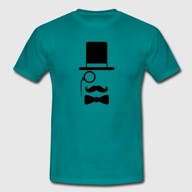 Gentleman mustache monocle beard cylindrical glass T-Shirts - Men's T-Shirt