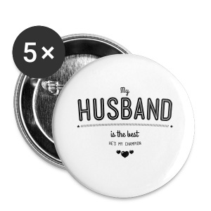 my husband is best T-Shirts - Buttons klein 25 mm