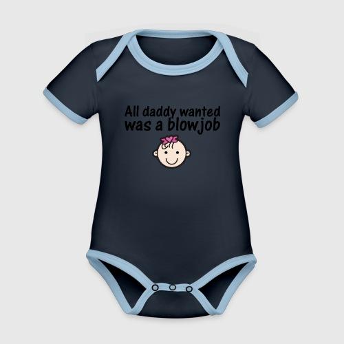 All daddy wanted - girl - 0-3 mdr. - Kortærmet ækologisk babybody i kontrastfarver