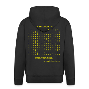 Brainfuck (Yellow) - Men's Premium Hooded Jacket