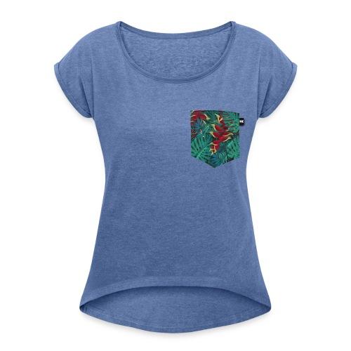 effet pocket parrot - T-shirt à manches retroussées Femme