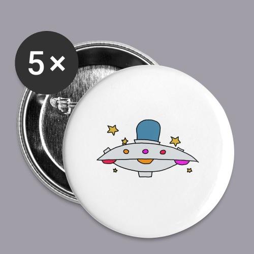Ufo - Buttons groß 56 mm (5er Pack)