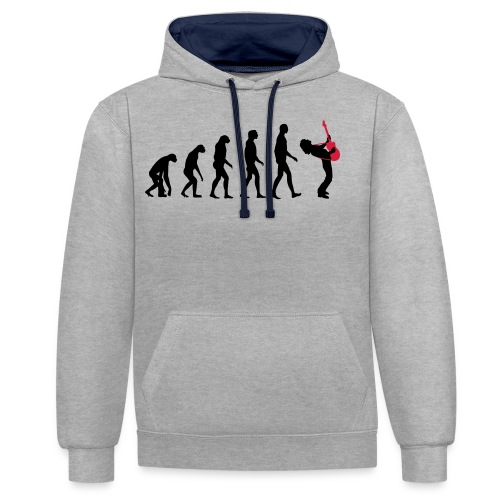 The Evolution Of Rock Tee - mens - Contrast Colour Hoodie