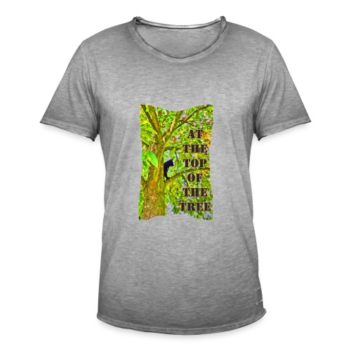 Schwarze Katze auf dem Baum - Männer Vintage T-Shirt