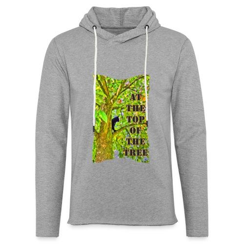 Schwarze Katze auf dem Baum - Leichtes Kapuzensweatshirt Unisex