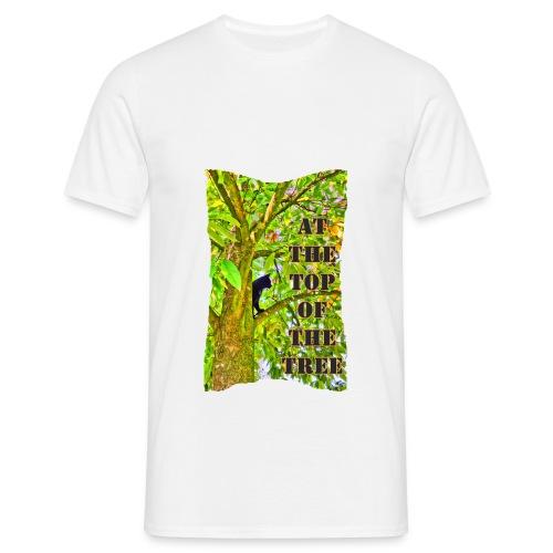 Schwarze Katze auf dem Baum - Männer T-Shirt
