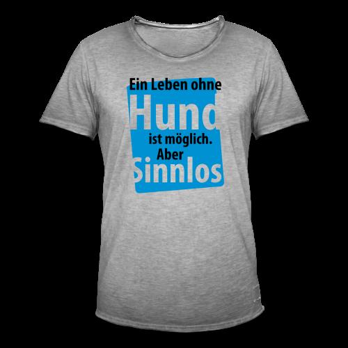Ohne Hund-Schwarz-Neongrün - Männer Vintage T-Shirt