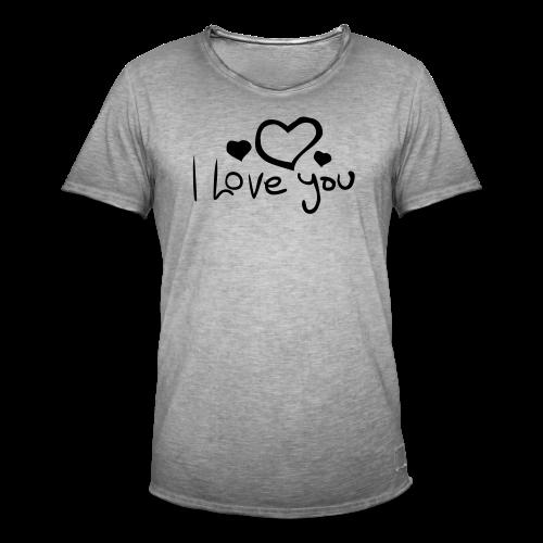 I Love You-Rot Glitzer - Männer Vintage T-Shirt