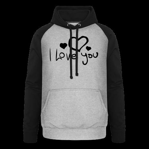 I Love You-Rot Glitzer - Unisex Baseball Hoodie