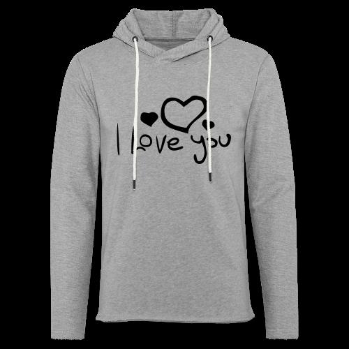 I Love You-Rot Glitzer - Leichtes Kapuzensweatshirt Unisex