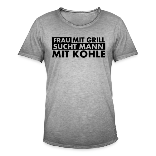 Frau mit Grill..Schwarz Glitzer - Männer Vintage T-Shirt
