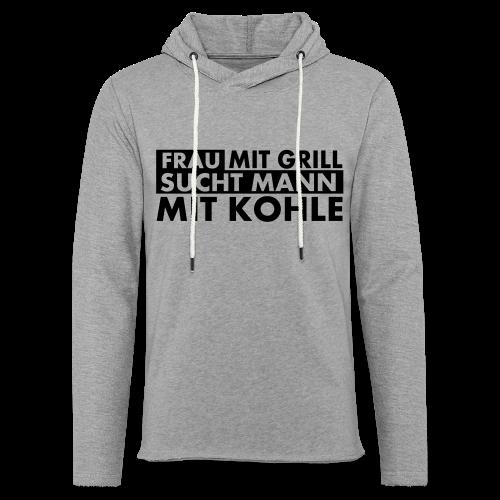 Frau mit Grill..Schwarz Glitzer - Leichtes Kapuzensweatshirt Unisex