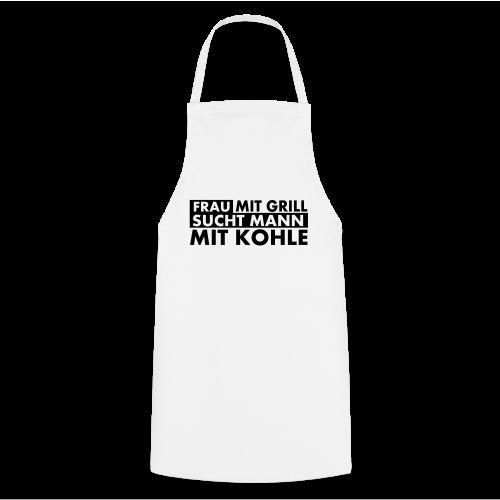 Frau mit Grill..Schwarz Glitzer - Kochschürze