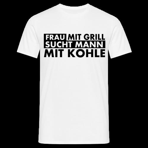 Frau mit Grill..Schwarz Glitzer - Männer T-Shirt