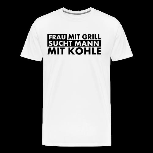 Frau mit Grill..Schwarz Glitzer - Männer Premium T-Shirt