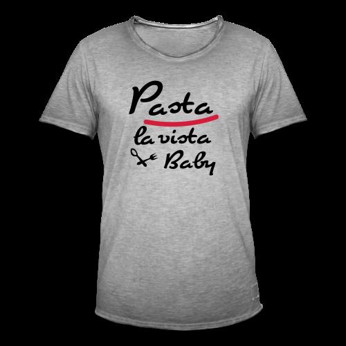 Pasta.. Schwarz-Neonorange - Männer Vintage T-Shirt