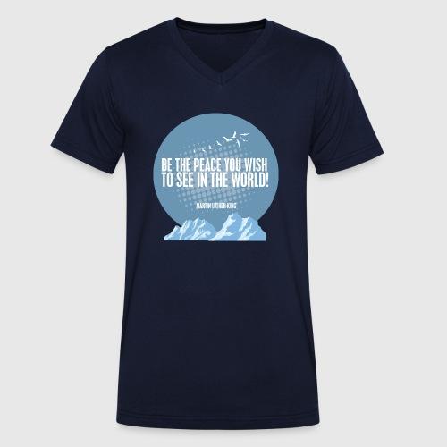 PEACE - MARTIN LUTHER KING - Økologisk Stanley & Stella T-shirt med V-udskæring til herrer