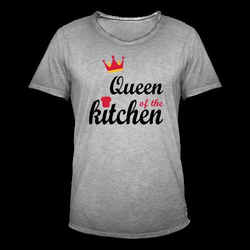 Queen of...Silbermetallic/Neonpink/Goldgelb - Männer Vintage T-Shirt
