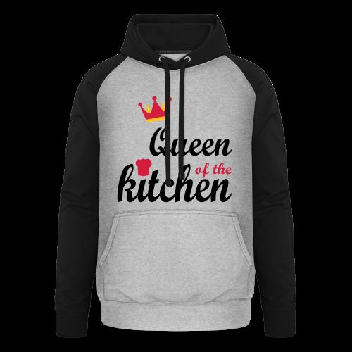 Queen of...Silbermetallic/Neonpink/Goldgelb - Unisex Baseball Hoodie
