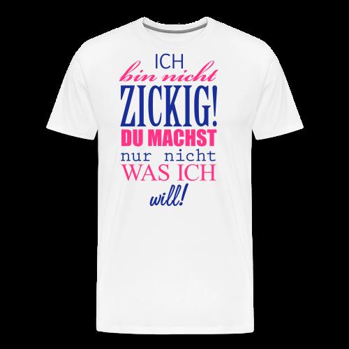 Zickig...Silbermetallic/Neonpink - Männer Premium T-Shirt