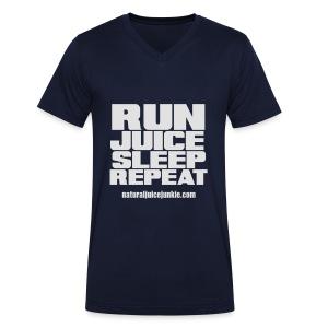 Mens Run Juice Sleep Repeat - Men's Organic V-Neck T-Shirt by Stanley & Stella