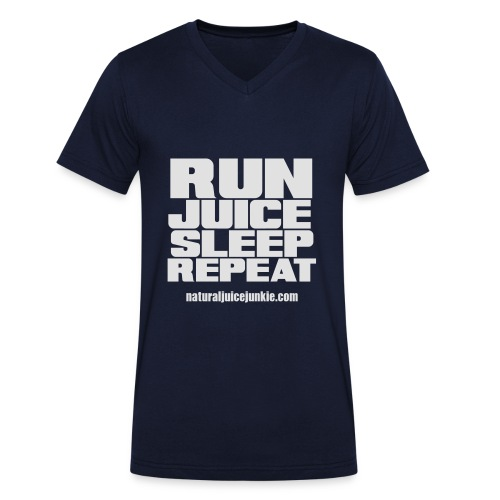 Mens Run Juice Sleep Repeat - Men's Organic V-Neck T-Shirt by Stanley & Stella