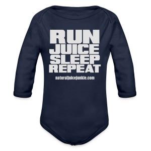 Mens Run Juice Sleep Repeat - Organic Longsleeve Baby Bodysuit