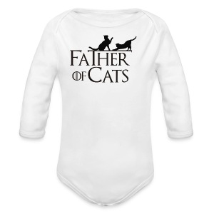 Camiseta blanca Father of cats - Body orgánico de manga larga para bebé