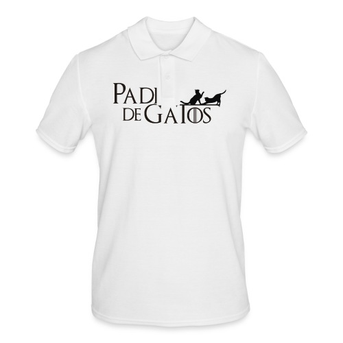 Camiseta blanca Padre de Gatos - Polo hombre