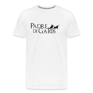 Camiseta blanca Padre de Gatos - Camiseta premium hombre