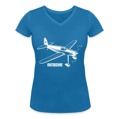 Outerzone t-shirt, white logo - Women's Organic V-Neck T-Shirt by Stanley & Stella