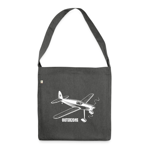 Outerzone t-shirt, white logo - Shoulder Bag made from recycled material